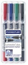 STAEDTLER Lumocolor Permanent-Marker duo, 4er Etui