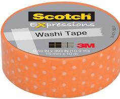 3M Scotch Kreativ-Klebefilm, 15 mm x 10 m, orange gepunktet