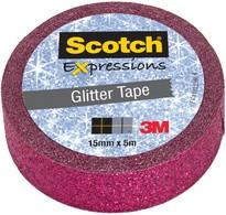 3M Scotch Kreativ-Klebefilm, 15 mm x 5 m, pink Glitzer
